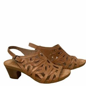 Josef Siebel Ruth Laser Cut Heeled Sandals Tan 40